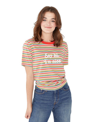 Say Hi I'm Nice Striped Ringer Tee