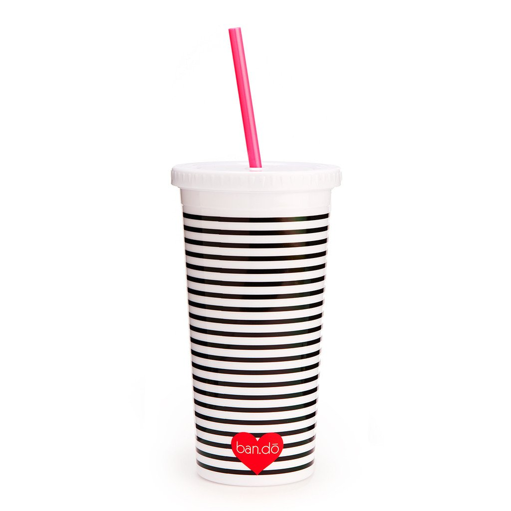 sip sip tumbler with straw - black/white stripe with neon heart - back