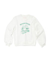White balloon sleeve sweatshirt with center placed design