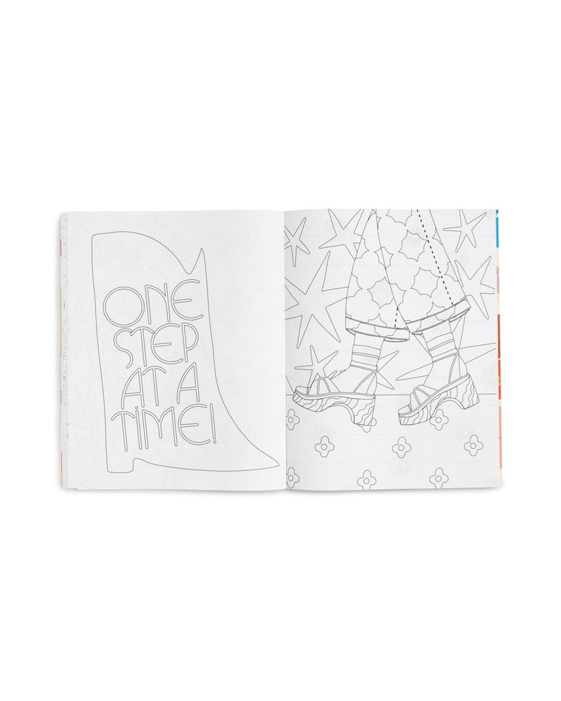 interior image of 2 coloring pages in the coloring book one with the words one step at a time