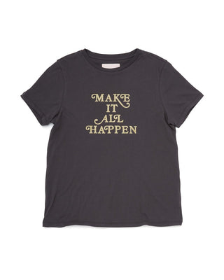 Woman in a vintage black short sleeve tshirt with Make It All Happen in gold foil letters.
