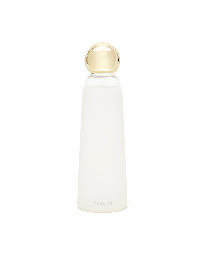 Deluxe Cool It! Glass Water Bottle - White / Metallic Gold