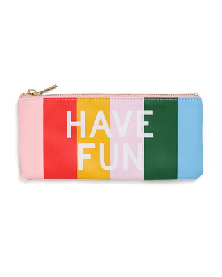 This Get It Together Pencil Pouch has a colorful striped pattern, with 'Have Fun' on the front and 'Work Hard' on the back.
