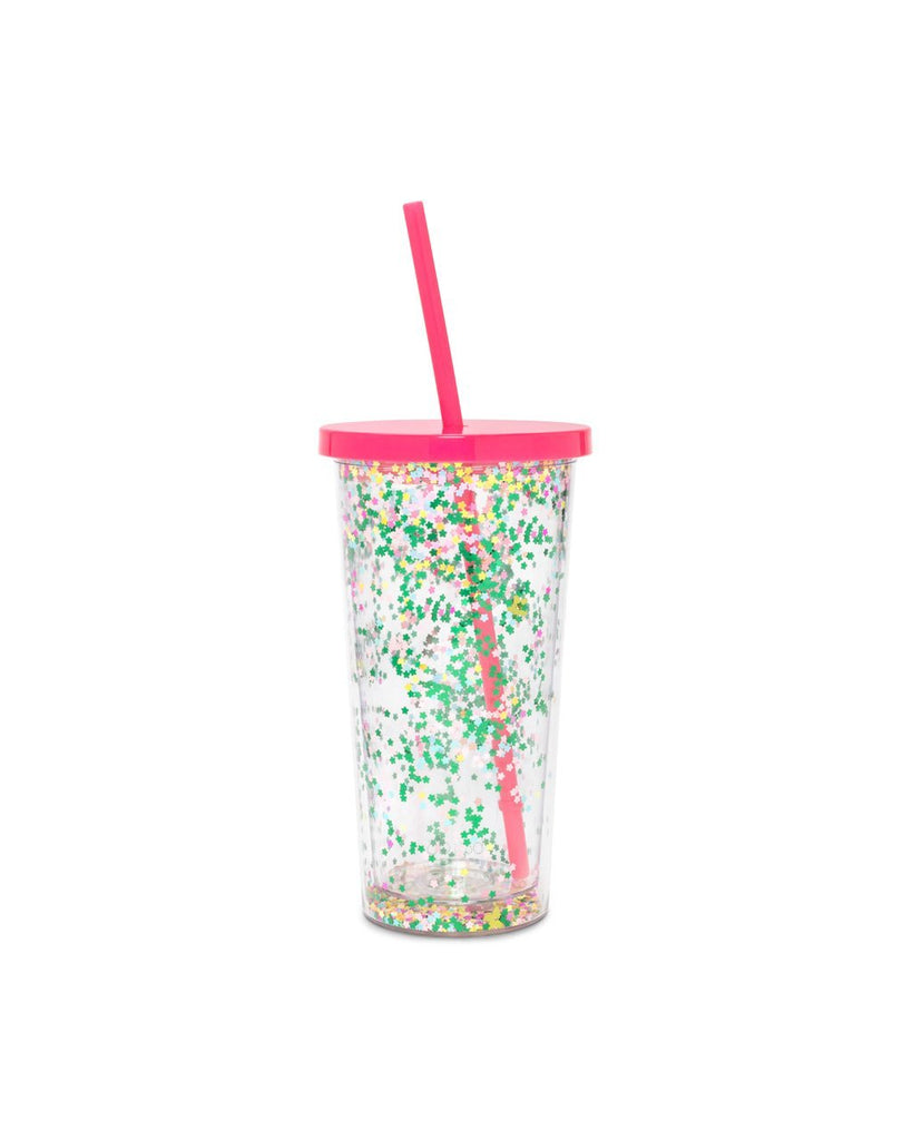 acrylic sip sip with a pink top and straw featuring a floral confetti inner wall