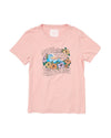 pink graphic tee with the words ride the wave of emotions mixed in a floral graphic