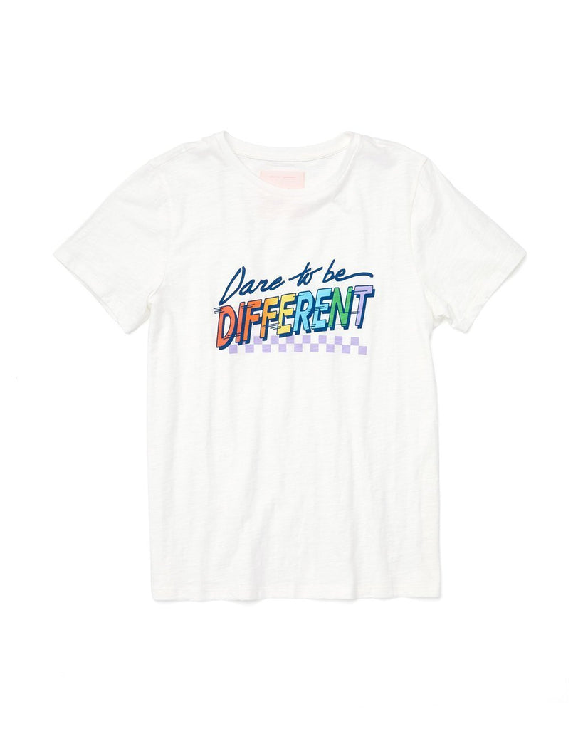 "White short sleeve tee with ""Dare to be Different"" printed on front"