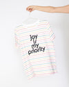 Joy Is My Priority Striped Tee