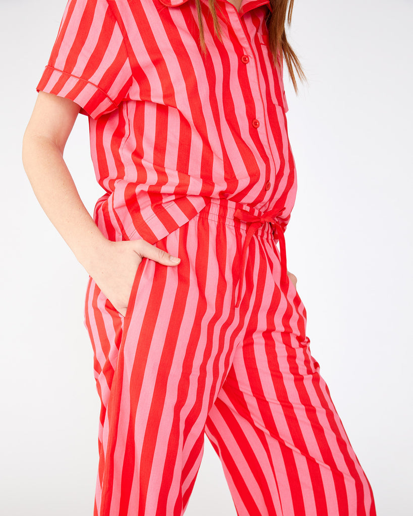 Leisure Pants - Hot Pink/Red Stripe
