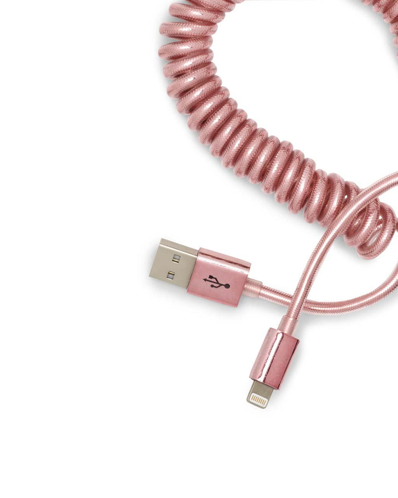 on the line charging cord - metallic rose gold