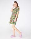 Short Sleeve Leisure Dress - Emerald Super Bloom