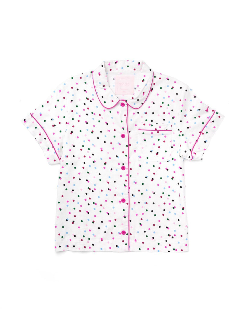 Short sleeve button down pajama top with allover multi-color polka dots.