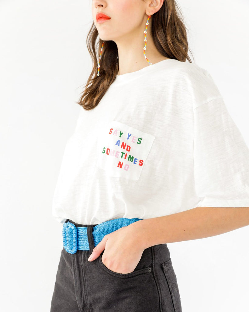 Say Yes and No Slub Pocket Tee