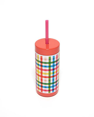 Stainless Steel Tumbler With Straw - Block Party