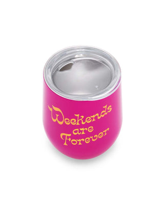 Stainless Steel Wine Glass With Lid - Weekends Are Forever