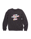 Long sleeve vintage black sweatshirt with a rainbow graphic Look Forward Not Back in the center.