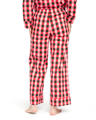 Green & pink plaid pajama pants with a pink tie.