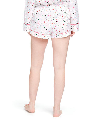 Flannel pajama shorts with allover multi-color polka dot print and pink drawstring tie.
