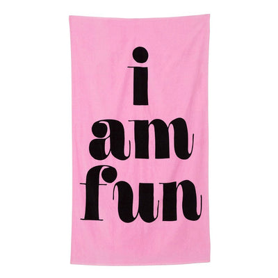 beach, please! giant beach towel - i am fun, hot pink