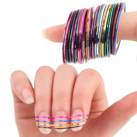 30Pcs Mixed Color Foil Beauty Rolls - Nail Striping Decals