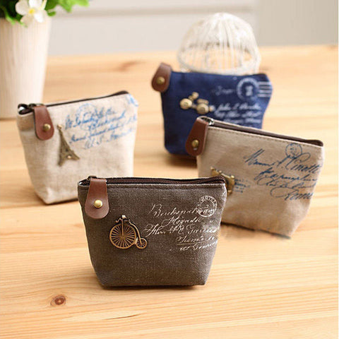 Canvas Classic Retro Small Change Purse - 4 Styles