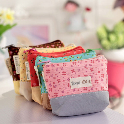 Canvas Cute Flowers Small Change Purse - 5 Styles