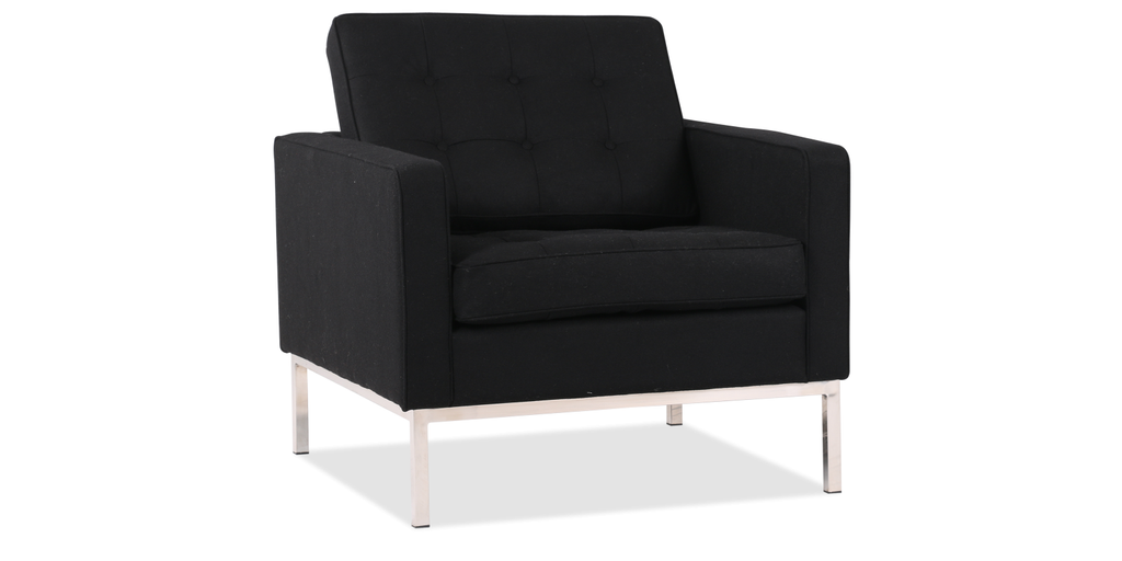 Florence Knoll Style Armchair Wool Black