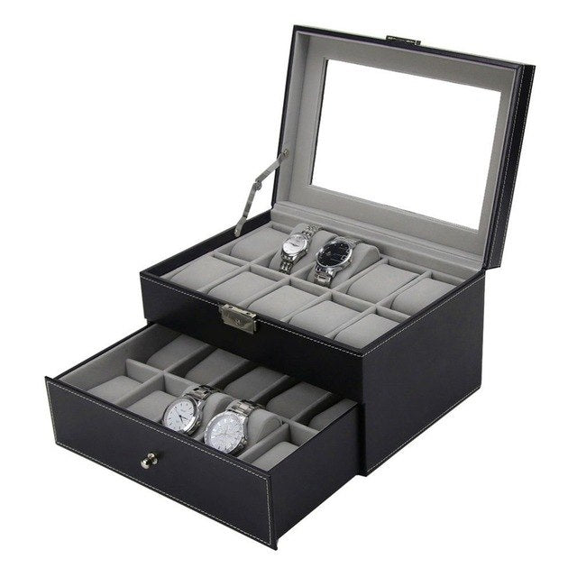 20 Grid Slot Double Layer Leather Watch Box