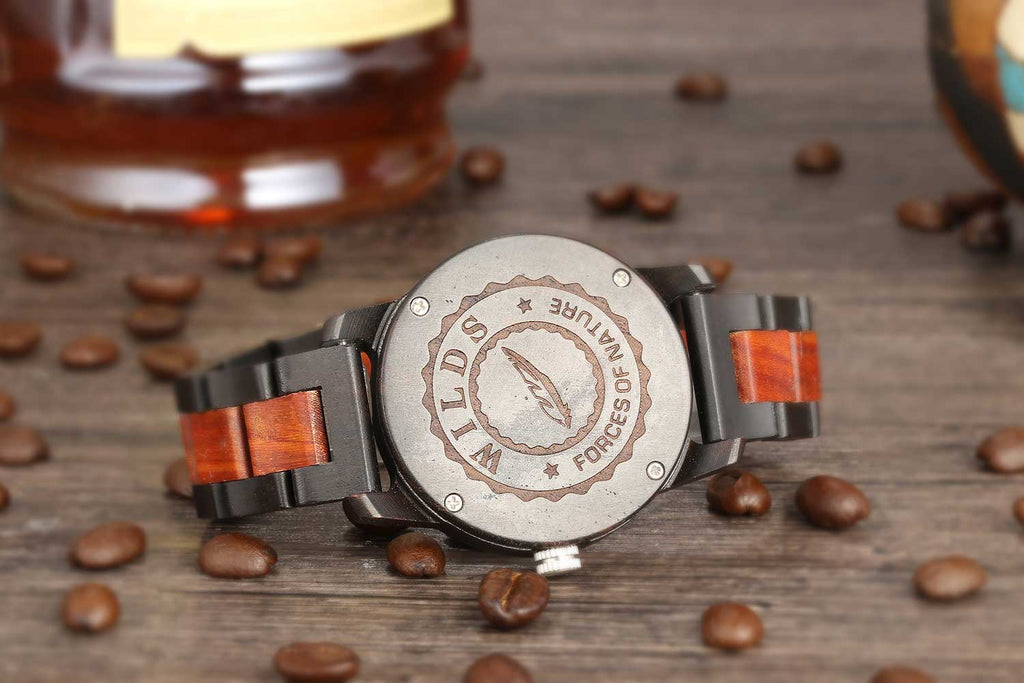 Handcrafted Engraving Ebony & Rose Wood Watch