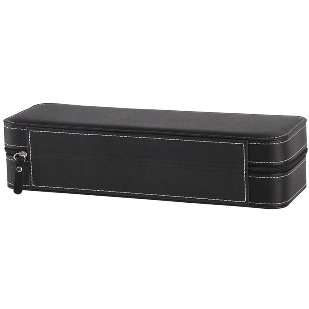 Portable Black Leather 6 Grid Watch Box