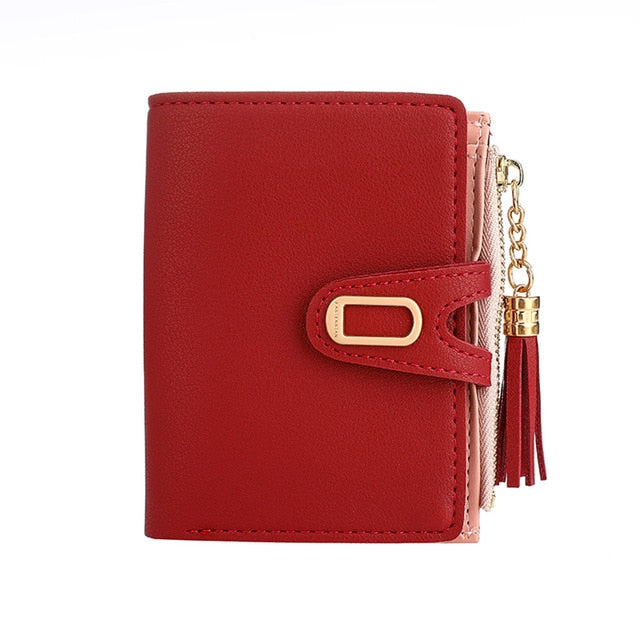 Simple Solid Color Tassel Wallet