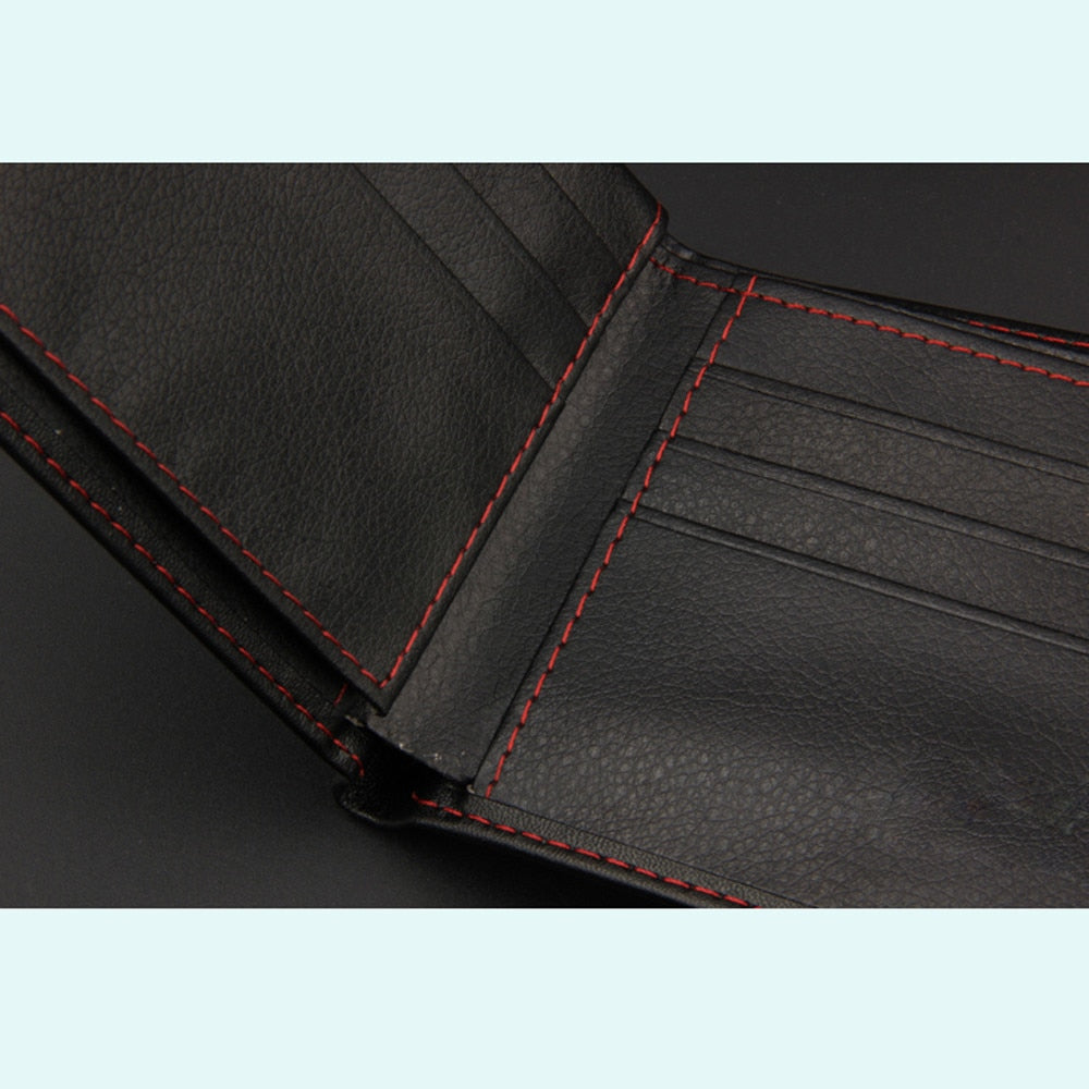 Men's Red Stitching Leather Bi-fold Wallet