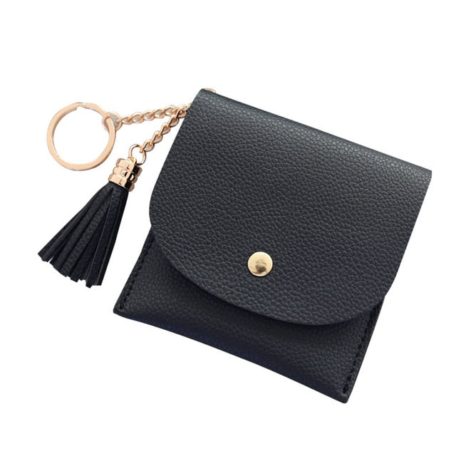 Simple Short Tassel Coin & Card Holder