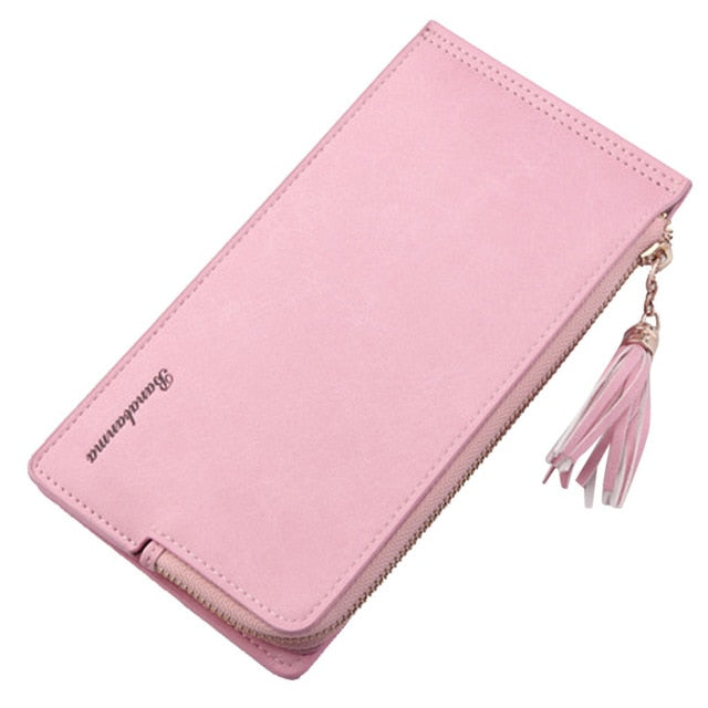 Retro Vintage Leather Long Wallet with Tassel