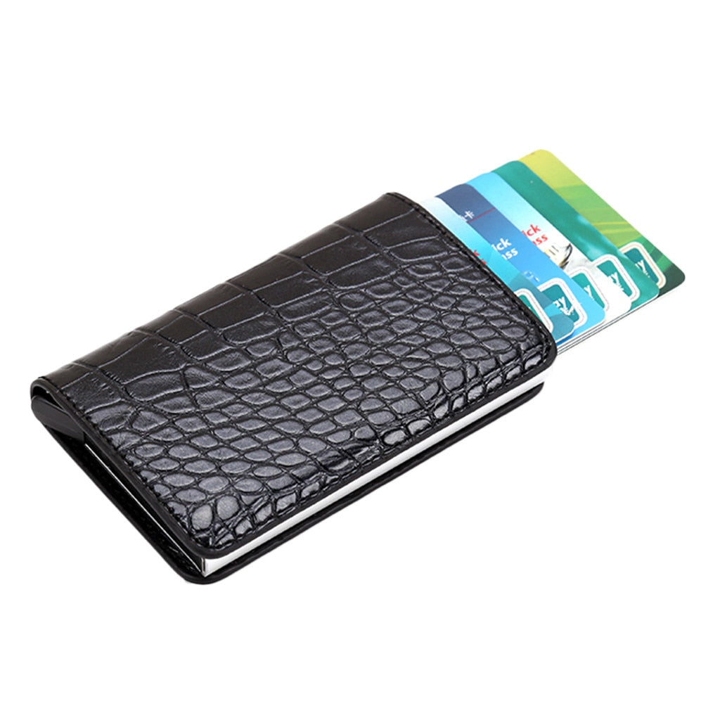 Embossed Leather Unisex Card Holder