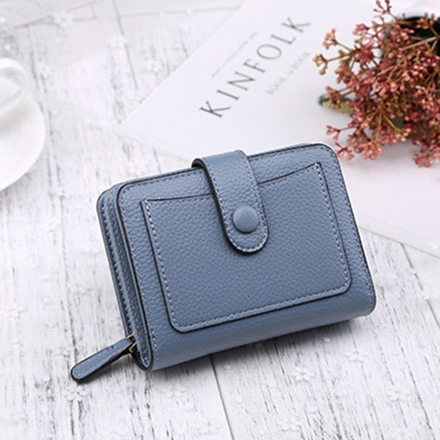 Small Bi-Fold Leather Wallet with Zippered Coin Purse
