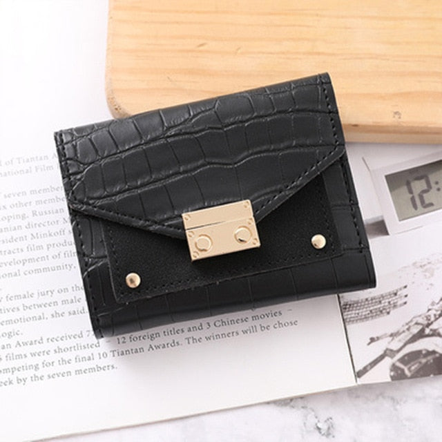 Leather Embossed Compact Tri-Fold Wallet