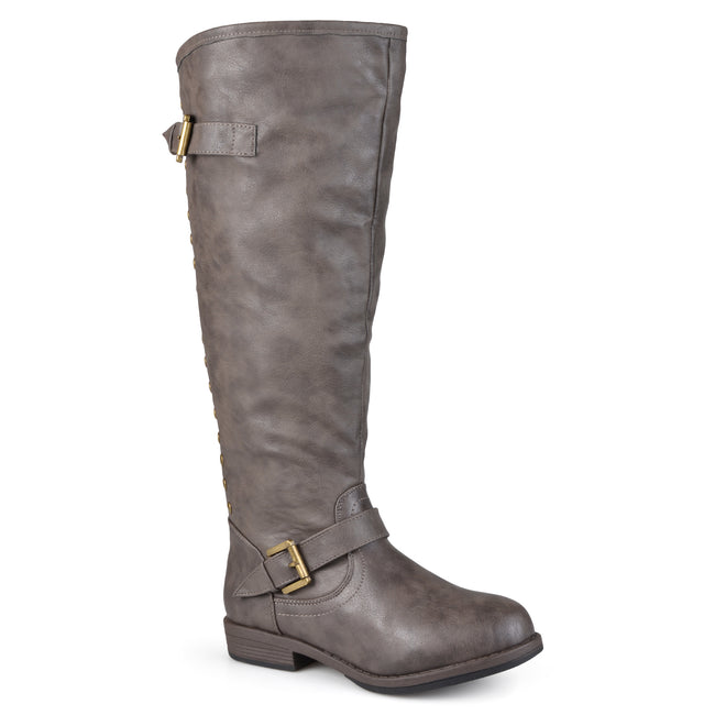 Journee Collection Womens Wide-Calf Studded Knee-High Riding Boot