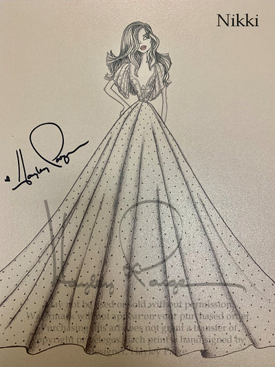 Nikki- Blush by Hayley Paige Bridal Gown Printed Sketch