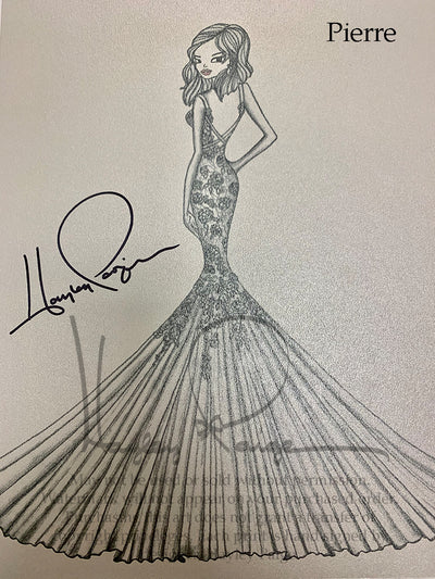 Pierre- Blush by Hayley Paige Bridal Gown Printed Sketch