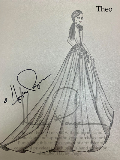 Theo- Blush by Hayley Paige Bridal Gown Printed Sketch