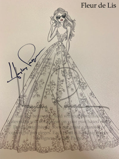 Fleur De Lis- Blush by Hayley Paige Bridal Gown Printed Sketch