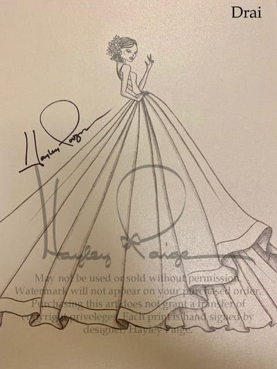 Drai- Blush by Hayley Paige Bridal Gown Printed Sketch