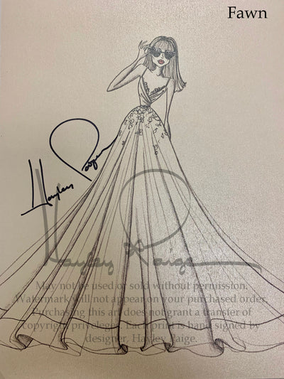 Fawn- Blush by Hayley Paige Bridal Gown Printed Sketch