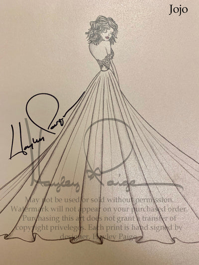 Jojo- Blush by Hayley Paige Bridal Gown Printed Sketch