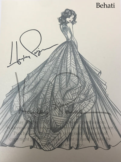 Behati- Hayley Paige Bridal Gown Printed Sketch