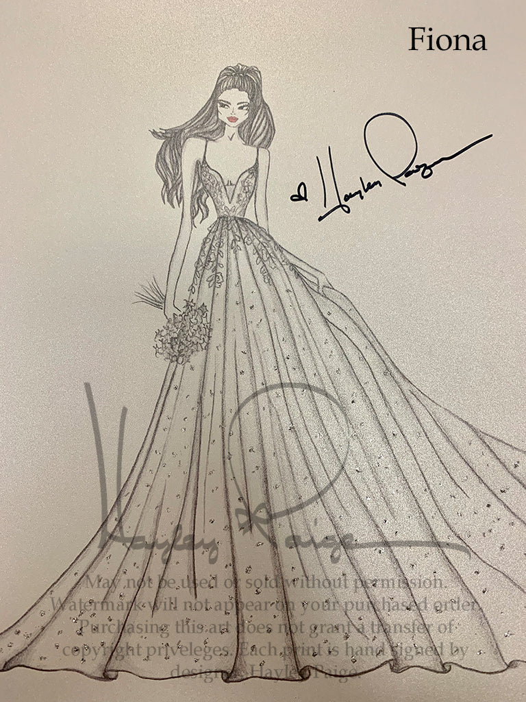 Fiona- Hayley Paige Bridal Gown Printed Sketch