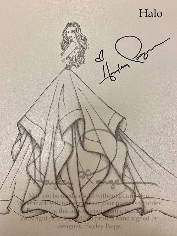 Halo- Hayley Paige Bridal Gown Printed Sketch