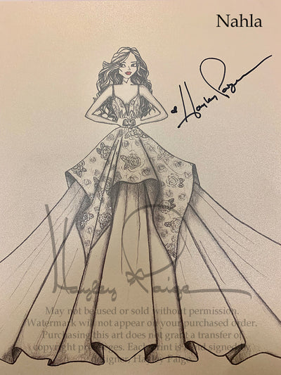 Nahla- Blush by Hayley Paige Bridal Gown Printed Sketch