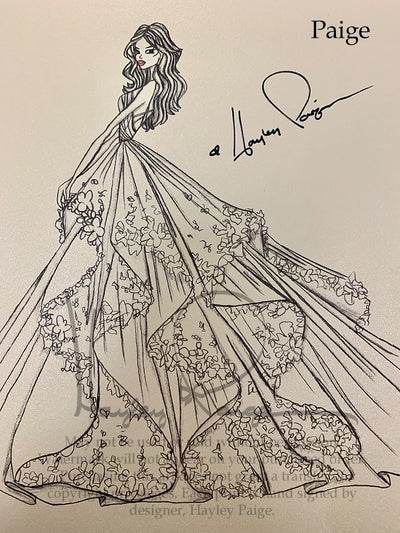 Paige- Hayley Paige Bridal Gown Printed Sketch