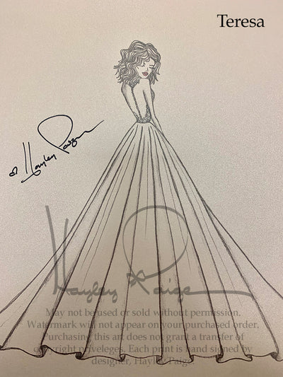 Teresa- Hayley Paige Bridal Gown Printed Sketch